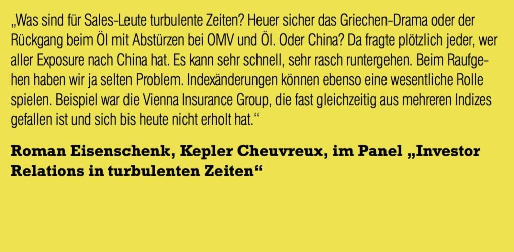 """Roman Eisenschenk, Kepler Cheuvreux, im Panel """"Investor Relations in turbulenten Zeiten"""" (06.11.2015)"""