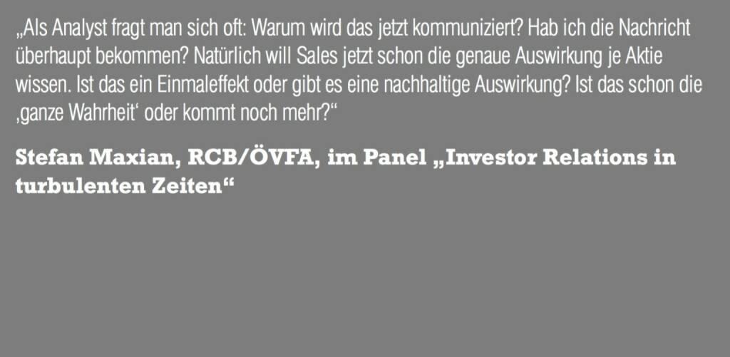 "Stefan Maxian, RCB/ÖVFA, im Panel ""Investor Relations in turbulenten Zeiten"" (06.11.2015)"