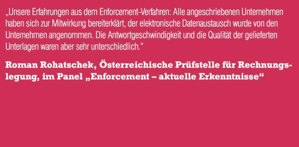 """Roman Rohatschek, Österreichische Prüfstelle für Rechnungslegung, im Panel """"Enforcement – aktuelle Erkenntnisse"""" (06.11.2015)"""