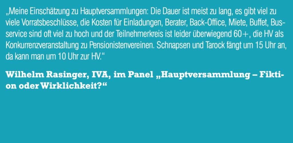 """Wilhelm Rasinger, IVA, im Panel """"Hauptversammlung – Fiktion oder Wirklichkeit?"""" (06.11.2015)"""