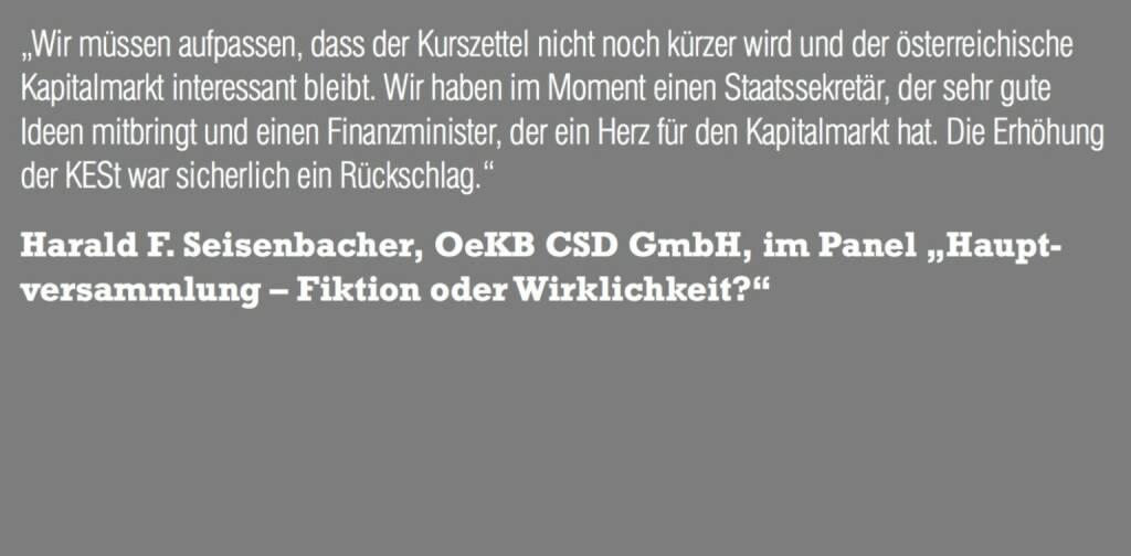 """Harald F. Seisenbacher, OeKB CSD GmbH, im Panel """"Hauptversammlung – Fiktion oder Wirklichkeit?"""" (06.11.2015)"""