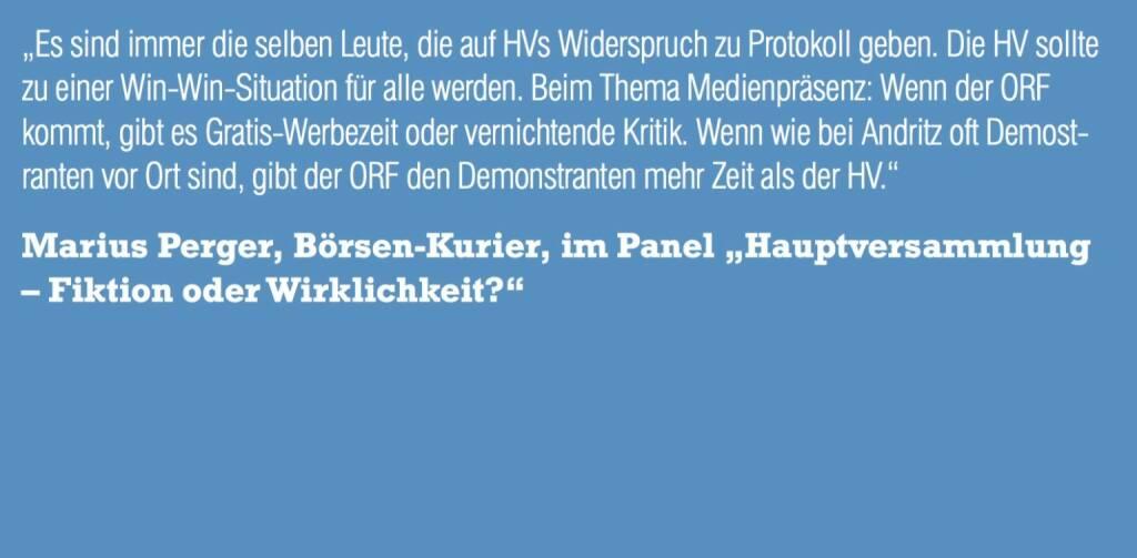 """Marius Perger, Börsen-Kurier, im Panel """"Hauptversammlung – Fiktion oder Wirklichkeit?"""" (06.11.2015)"""