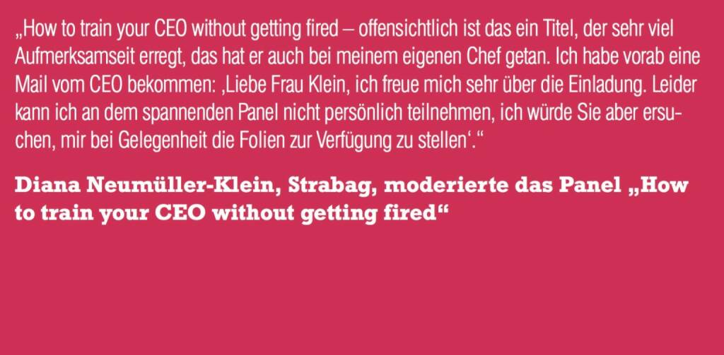 "Diana Neumüller-Klein, Strabag, moderierte das Panel ""How to train your CEO without getting fired"" (06.11.2015)"
