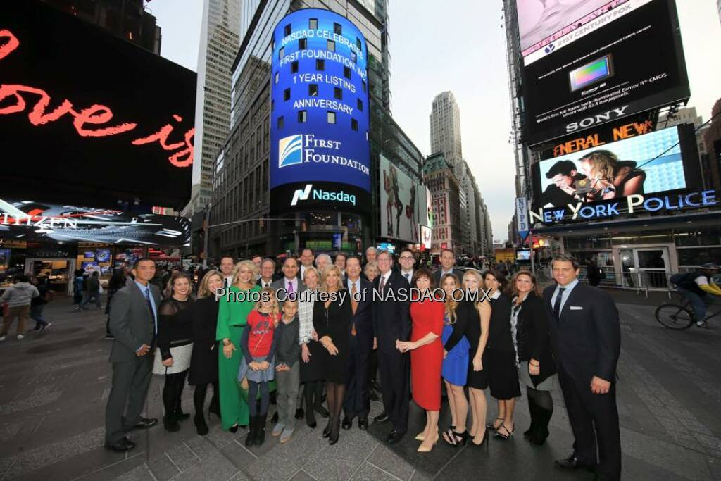 First Foundation Inc. Rang the Nasdaq Closing Bell! $FFWM  Source: http://facebook.com/NASDAQ (10.11.2015)