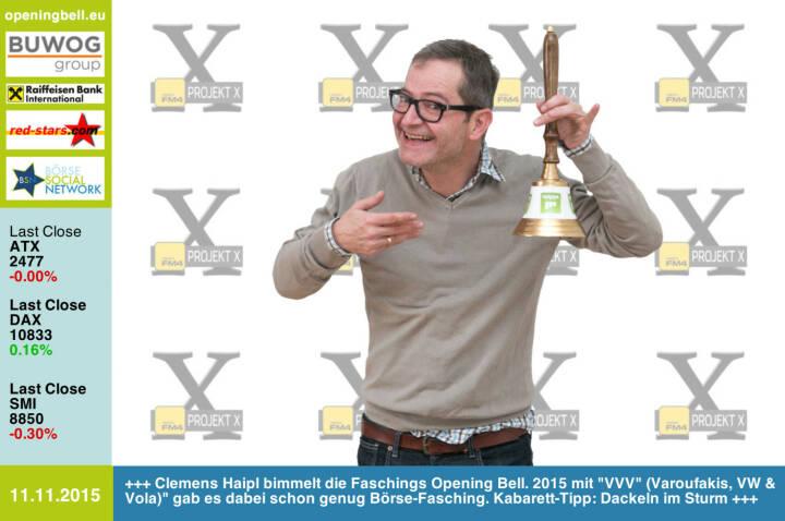 #openingbell am 11.11.: Clemens Haipl bimmelt die Faschings Opening Bell. 2015 mit VVV (Varoufakis, VW & Vola) gab es dabei schon genug Börse-Fasching. Kabarett-Tipp: Dackeln im Sturm http://www.clemenshaipl.at http://www.openingbell.eu