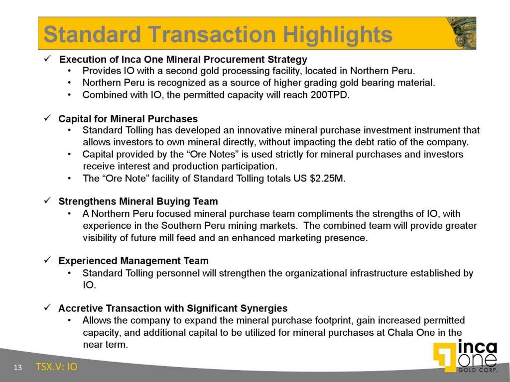Standard Transaction Highlights (12.11.2015)