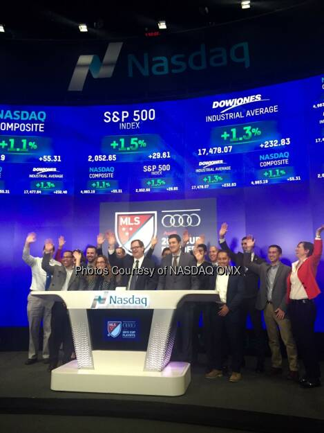 Great to have @MLS here to ring the #Nasdaq closing bell! #MLSCupPlayoffs  Source: http://facebook.com/NASDAQ (17.11.2015)