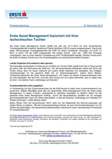 Erste Asset Management fusioniert mit tschechischer Tochter, Seite 1/1, komplettes Dokument unter http://boerse-social.com/static/uploads/file_485_erste_asset_management_fusioniert_mit_tschechischer_tochter.pdf (19.11.2015)