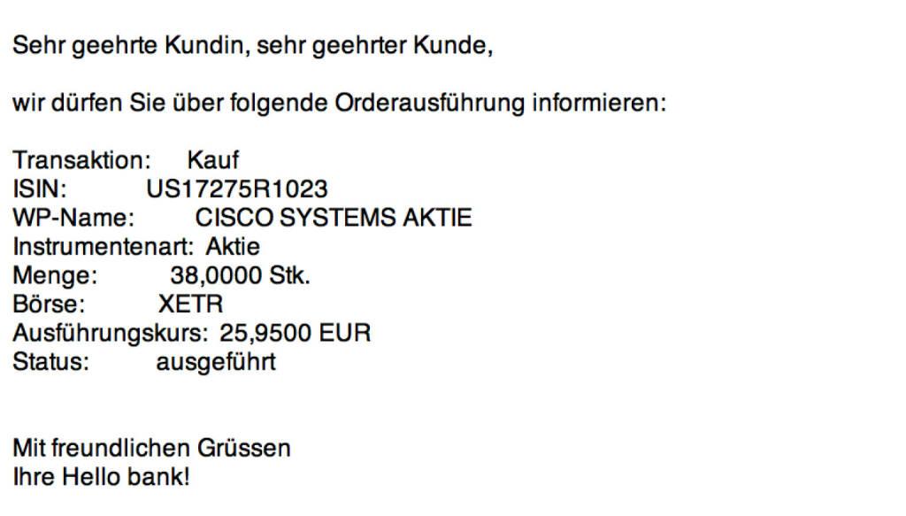 Tag 99: Kauf 38 Cisco Systems zu 25,95 Euro (23.11.2015)