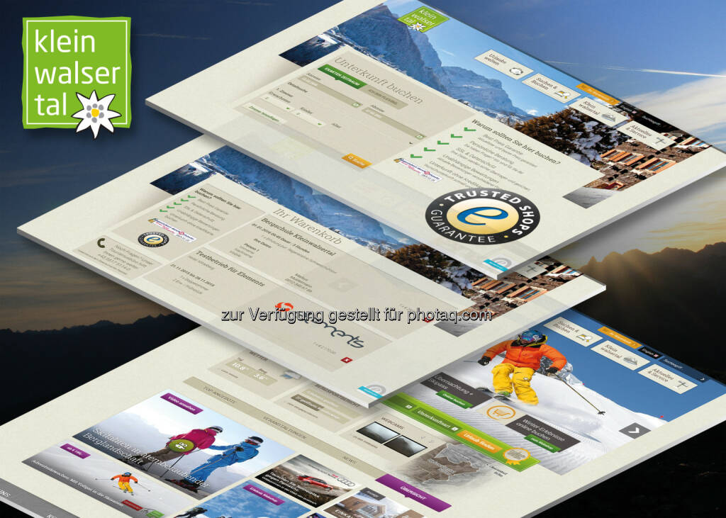 """Siegel """"Trusted Shops"""" auf dem Kleinwalsertal Webshop : Trusted Shops Auszeichnung fürs Kleinwalsertal : Kleinwalsertal erhält als einer der ersten Destinationen im Alpenraum offizielle Zertifizierung von Buchungsprozess und Webshop : Das Siegel wird von Verbraucherschützern und staatlichen Stellen ausdrücklich für bedenkenloses Einkaufen im Internet empfohlen : Fotocredit: elements, © Aussendung (24.11.2015)"""