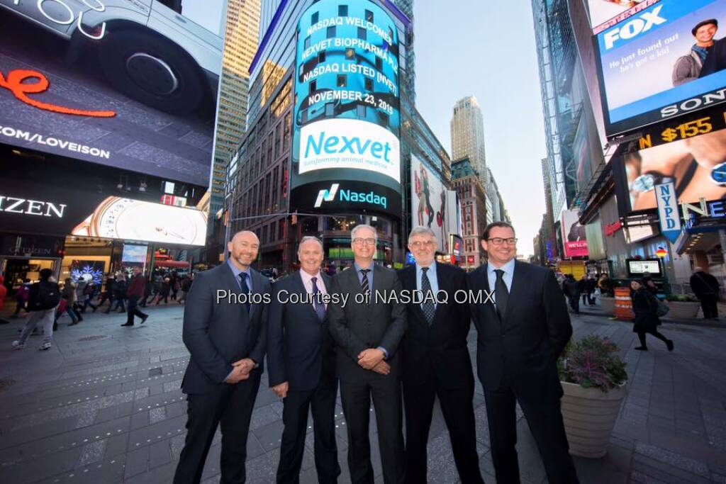 Nexvet rang the Nasdaq Closing Bell! $NVET  Source: http://facebook.com/NASDAQ (24.11.2015)