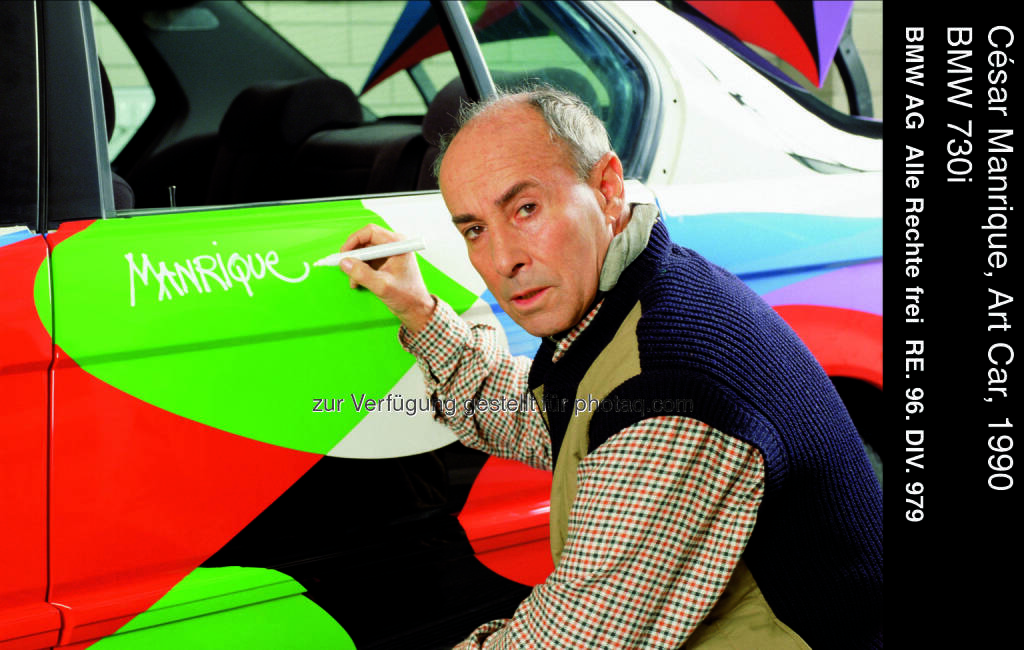 César Manrique, Art Car, 1990 - BMW 730i : BMW als Partner auf der Art Basel in Miami Beach 2015 :Präsentation der BMW Art Journey und des BMW Art Car von César Manrique : © BMW Group, © Aussendung (25.11.2015)
