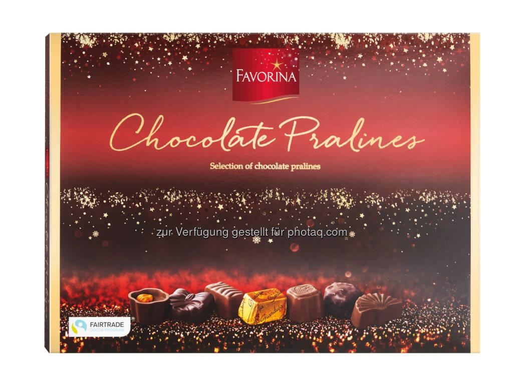 Favorina Pralinen : Lidl Österreich übernimmt Verantwortung :100% zertifizierte Weihnachtsschokolade unter der Qualitätsmarke Favorina - Kakao aus nachhaltigem Anbau : Fotocredit: Lidl Österreich, © Aussender (26.11.2015)