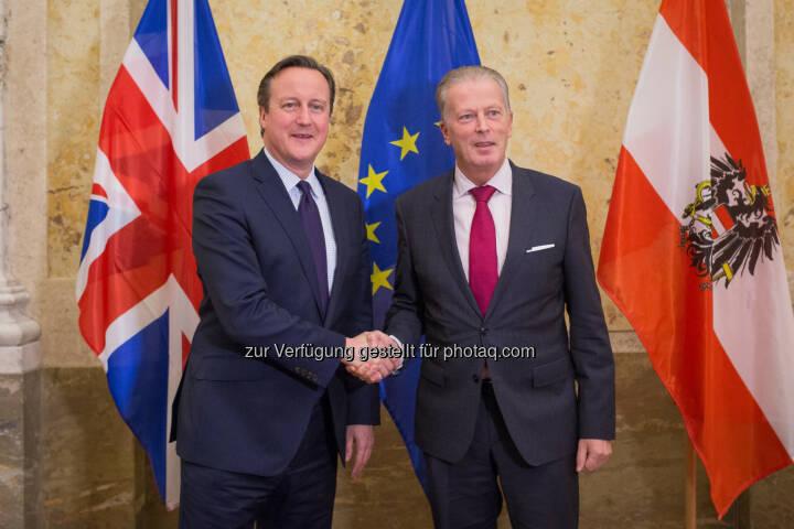 David Cameron und Reinhold Mitterlehner: Bundesministerium für Wissenschaft, Forschung und Wirtschaft: Vizekanzler Mitterlehner traf britischen Premierminister Cameron: Wir brauchen ein starkes Großbritannien in der Europäischen Union