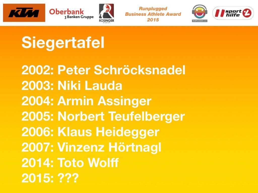 Siegertafel: 2002: Peter Schröcksnadel, 2003: Niki Lauda, 2004: Armin Assinger, 2005: Norbert Teufelberger, 2006: Klaus Heidegger, 2007: Vinzenz Hörtnagl, 2014: Toto Wolff, 2015: ???  (01.12.2015)