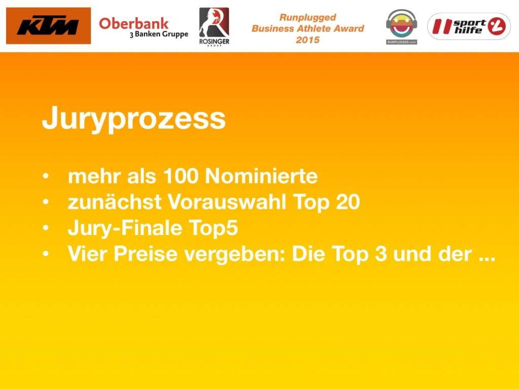 Juryprozess, mehr als 100 Nominierte, zunächst Vorauswahl Top 20, Jury-Finale Top5, Vier Preise vergeben: Die Top 3 und der ... (01.12.2015)