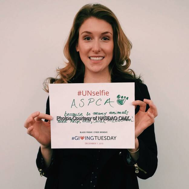 Are you ready for @givingtuesday tomorrow? Join us along with @blackbaud, @microsoft @92ndstreety and the @unitednations by sending us your #UNselfie to be featured on the #Nasdaq Tower tomorrow morning like @megmodic just did for the @ASPCA    Source: http://facebook.com/NASDAQ (01.12.2015)
