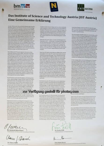 """IST Austria – """"Gemeinsame Erklärung"""" für ein gut bestelltes Haus : In der """"Gemeinsamen Erklärung"""" werden die Ziele und die Leitprinzipien des Instituts festgehalten sowie die gemeinsame Absicht bekundet, die bisher erfolgreiche Entwicklung des IST Austria konsequent fortzusetzen : Fotocredit: IST Austria, © Aussendung (01.12.2015)"""