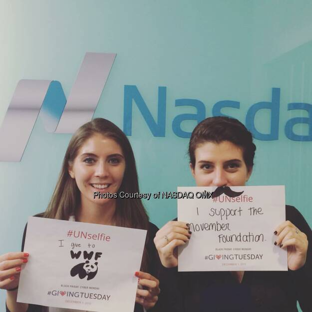 Nasdaq's Kristan Scala supports @wwf and Kelsey Speal supports @movember #marketerswhocare #GivingTuesday #UNselfie   Source: http://facebook.com/NASDAQ (02.12.2015)