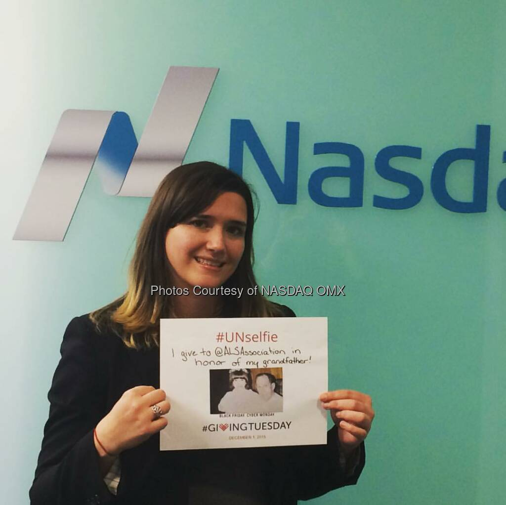 Nasdaq's Melissa MacEwen gives to the @als association to #strikeoutALS on #GivingTuesday! #UNselfie  Source: http://facebook.com/NASDAQ (02.12.2015)