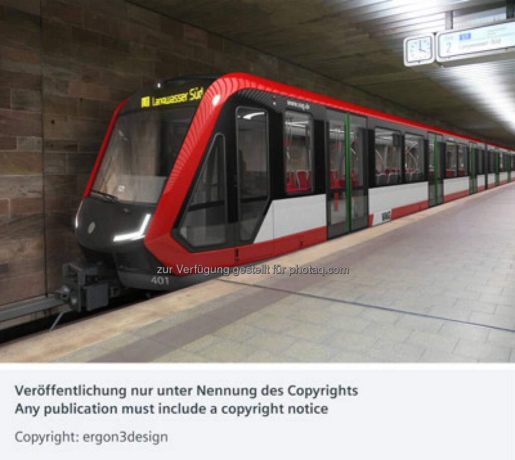 U-Bahn-Zug Typ G1 : Die VAG Verkehrs-Aktiengesellschaft Nürnberg ordert neue U-Bahnen bei Siemens : Die Auslieferung ist ab Mitte 2018 geplant : Copyright: ergon3design, © Aussendung (03.12.2015)