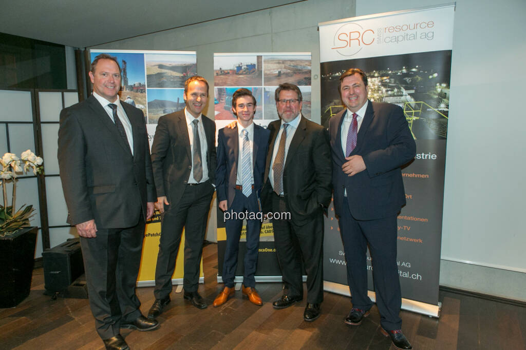 Bill Howald (Rye Patch Gold), Joe Brunner (SmallCap Investor), Nikolas Draper, George Moen (Inca One), Jochen Staiger (Swiss Resource Capital AG), 2nd Vienna Gold & Silver Night , © Martina Draper/photaq (03.12.2015)