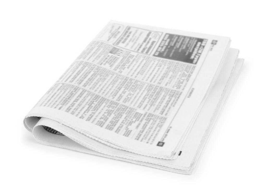 Zeitung, Annonce, Anzeige, http://www.shutterstock.com/de/pic-207409792/stock-photo-newspapers-stack-on-white-background.html, © www.shutterstock.com (09.12.2015)