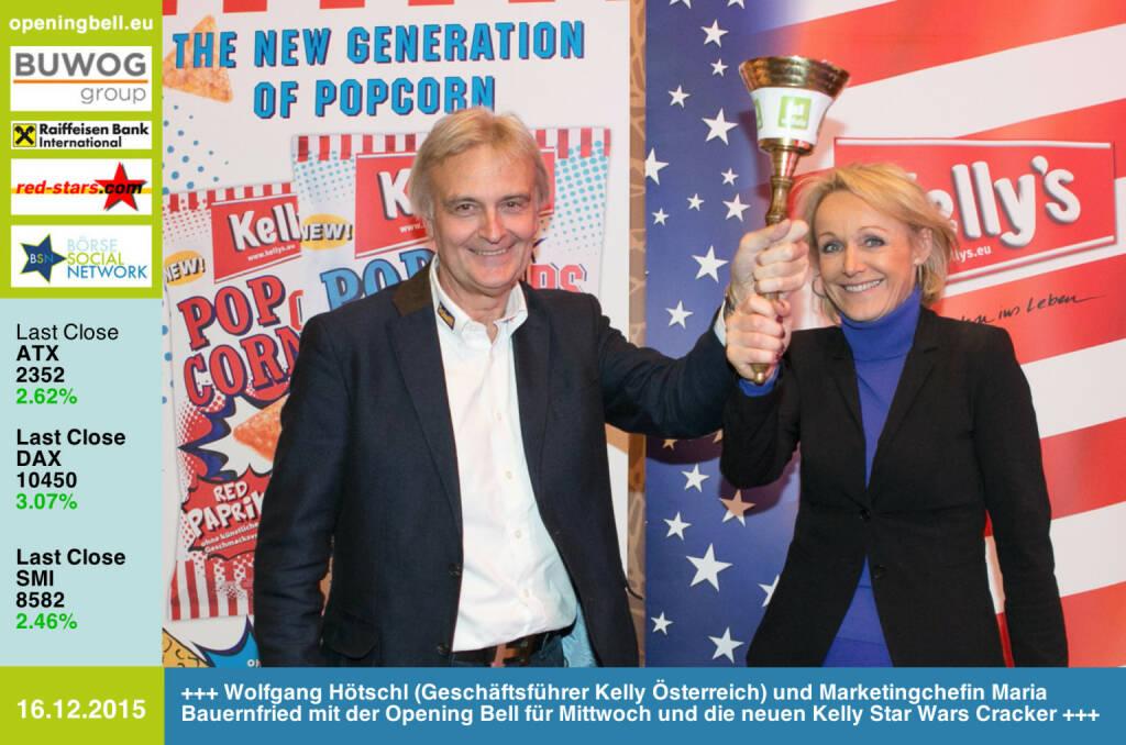 #openingbell am 16.12: Wolfgang Hötschl (Geschäftsführer Kelly Österreich) und Marketingchefin Maria Bauernfried mit der Opening Bell für Mittwoch und die neuen Kelly Star Wars Cracker http://www.kelly.at (16.12.2015)