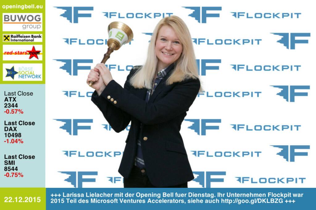 #openingbell am 22.12.: Larissa Lielacher mit der Opening Bell fuer Dienstag. Ihr Unternehmen Flockpit war 2015 Teil des Microsoft Ventures Accelerators, siehe auch http://goo.gl/DKLBZG http://www.flockpit.com http://www.openingbell.eu (22.12.2015)