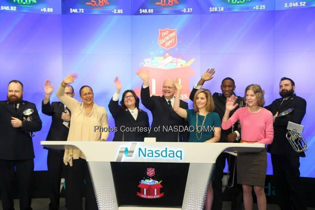 The Salvation Army USA rings the Nasdaq Opening Bell!   Source: http://facebook.com/NASDAQ (25.12.2015)