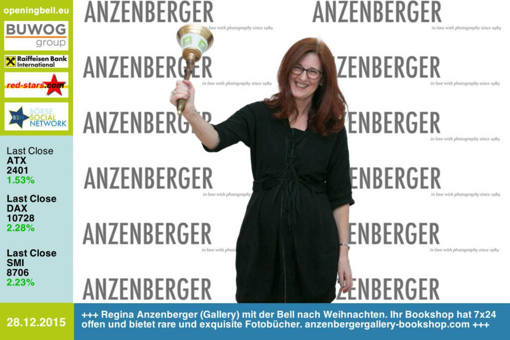 #openingbell am 28.12.: Regina Anzenberger (Gallery) mit der Opening Bell nach Weihnachten. Ihr Bookshop hat 7x24 offen und bietet viele rare und exquisite Fotobücher. http://www.anzenbergergallery-bookshop.com http://www.openingbell.eu (28.12.2015)