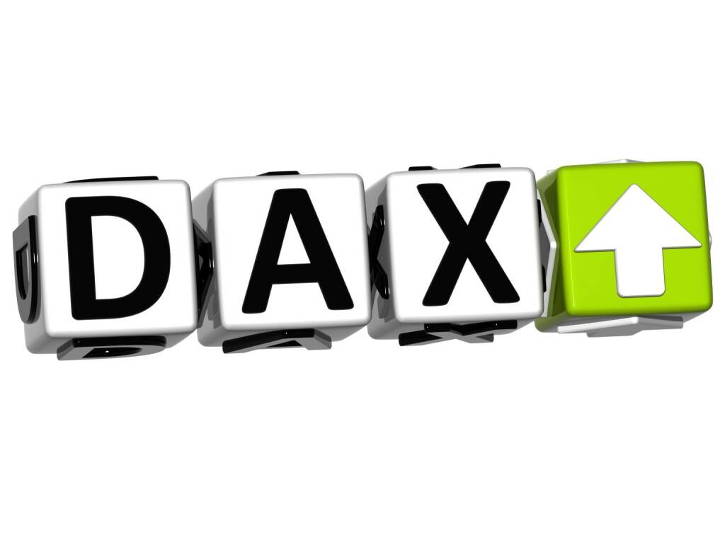 DAX. grün, steigt, http://www.shutterstock.com/de/pic-98599484/stock-photo--d-dax-stock-market-block-text-on-white-background.html, © www.shutterstock.com (29.12.2015)