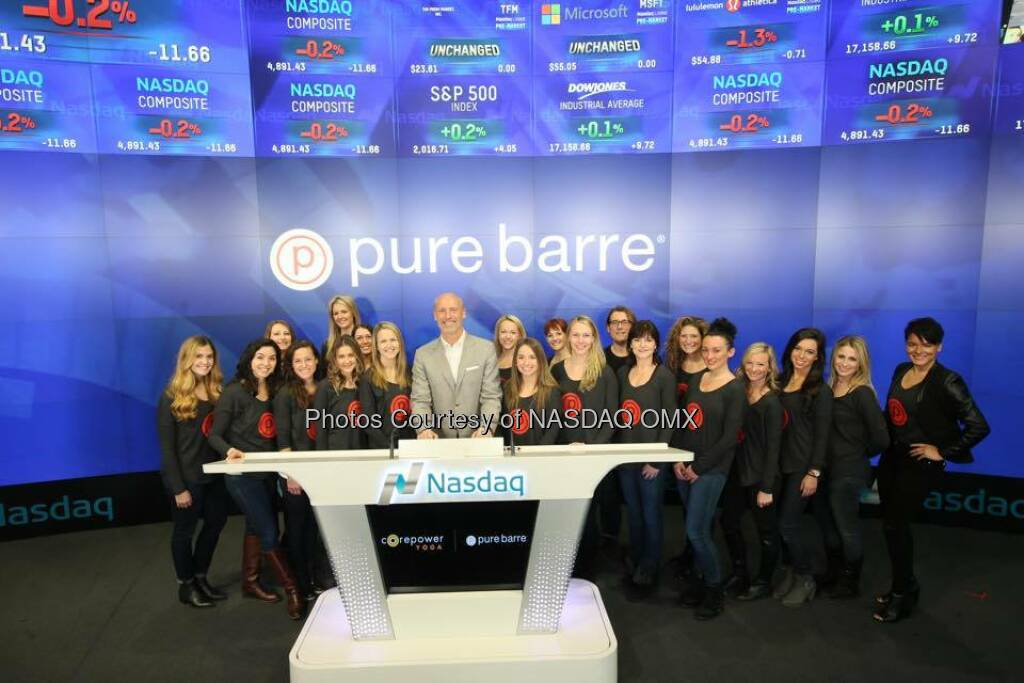 Corepower Yoga and Pure Barre ring the Nasdaq Opening Bell!   Source: http://facebook.com/NASDAQ (06.01.2016)