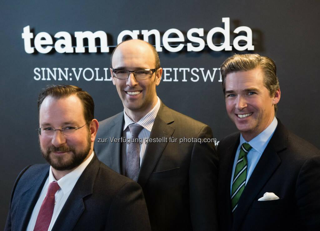 Stephan Pasquali, Marko Rostek, Andreas Gnesda : teamgnesda 2016 : Geschäftsführung neu : Fotocredit: Wilke, © Aussendung (07.01.2016)
