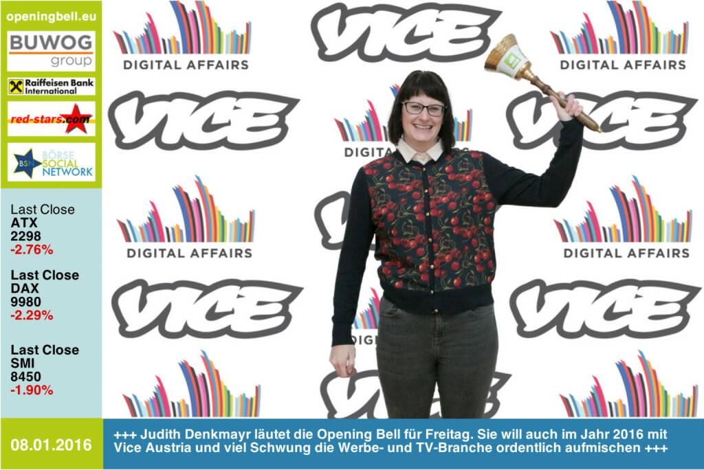 #openingbell am 8.1.: Judith Denkmayr läutet die Opening Bell für Freitag. Sie will auch im Jahr 2016 mit Vice Austria und viel Schwung die Werbe- und TV-Branche ordentlich aufmischen http://www.vice.com/alps/ http://www.openingbell.eu  (08.01.2016)
