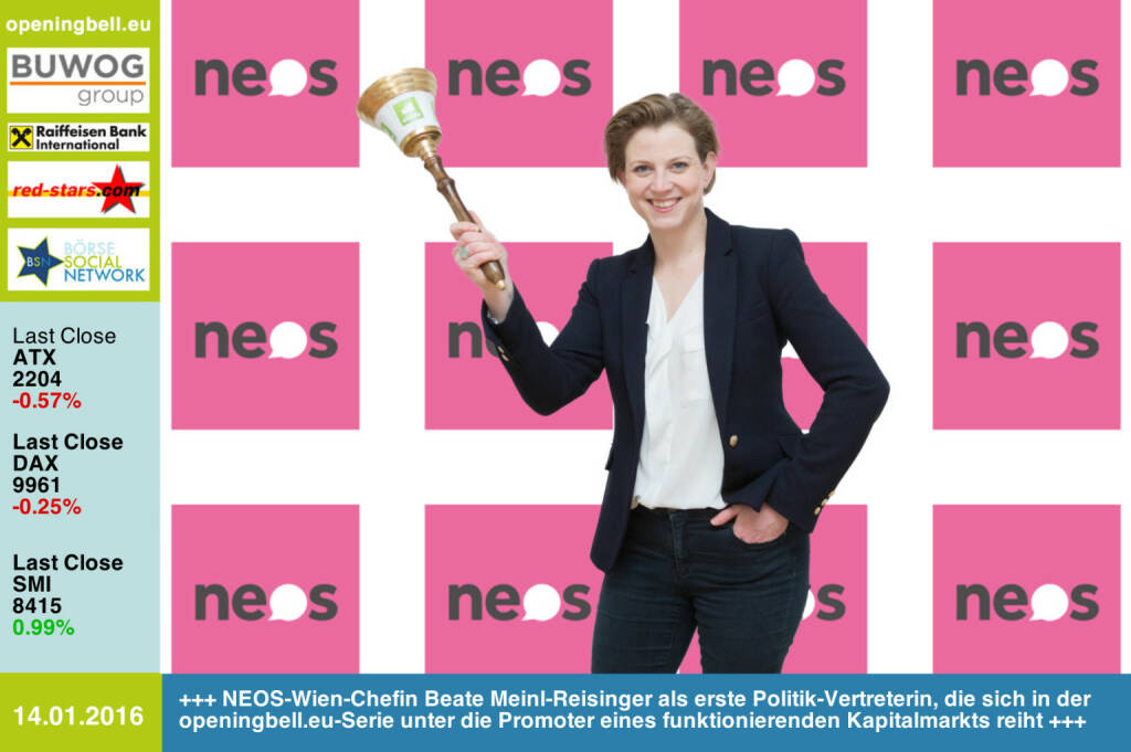 #openingbell am 14.1.: NEOS-Wien-Chefin Beate Meinl-Reisinger als erste Politik-Vertreterin, die sich in der openingbell.eu-Serie unter die Promoter eines funktionierenden Kapitalmarkts reiht https://neos.eu http://www.openingbell.eu (14.01.2016)