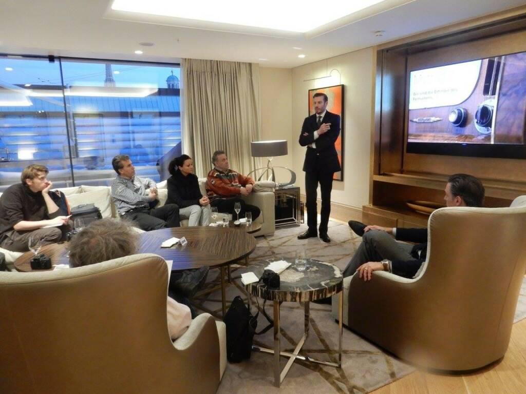 LOEWE-PK im Park Hyatt, Jänner 2016: Bei der LOEWE Pressekonferenz in der Royal Penthouse Suite präsentierten LOEWE CEO Mark Hüsges und der Leiter des Gesamtvertriebs, Kurt Doyran, zum Neustart des Unternehmens in Österreich die aktuelle Strategie des deutschen Premium-Herstellers.  (18.01.2016)