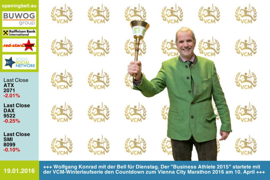 #openingbell am 19.1.: Wolfgang Konrad mit der Opening Bell für Dienstag. Der Business Athlete 2015 startete mit der VCM-Winterlaufserie den Countdown zum Vienna City Marathon 2016 am 10. April http://www.vienna-marathon.com http://www.runplugged.com/baa http://www.openingbell.eu  (19.01.2016)
