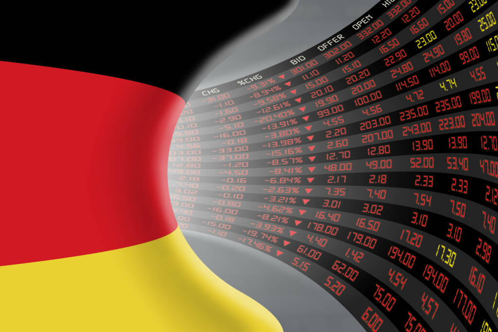 DAX, Kurszettel, rot http://www.shutterstock.com/de/pic-361977824/stock-photo-national-flag-of-germany-with-a-large-display-of-daily-stock-market-price-and-quotations-during.html, © www.shutterstock.com (20.01.2016)