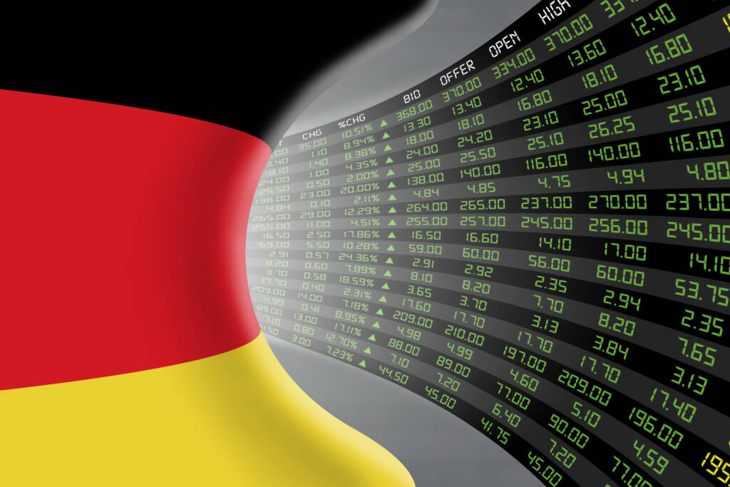 DAX, Kurszettel, grün http://www.shutterstock.com/de/pic-361977830/stock-photo-national-flag-of-germany-with-a-large-display-of-daily-stock-market-price-and-quotations-during.html, © www.shutterstock.com (20.01.2016)