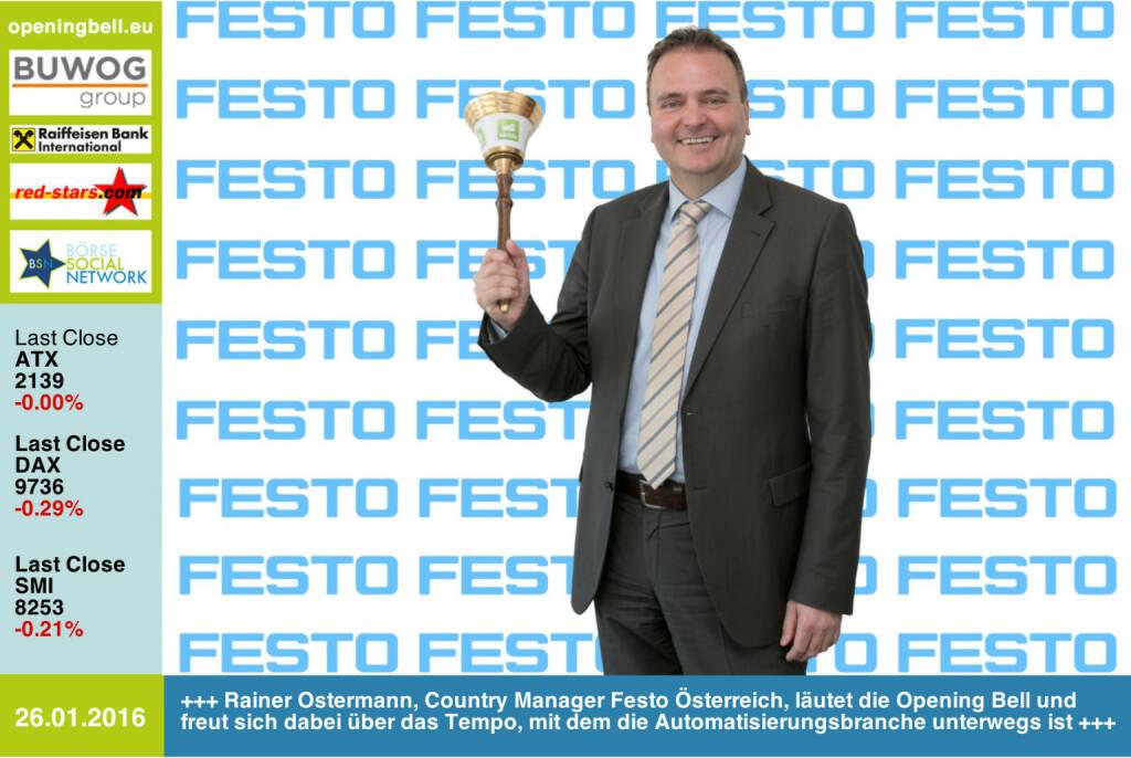 #openingbell am 26.1.: Rainer Ostermann, Country Manager von Festo Österreich, läutet die Opening Bell und freut sich dabei über das Tempo, mit dem die Automatisierungsbranche unterwegs ist http://www.festo.com/at http://www.openingbell.eu (26.01.2016)