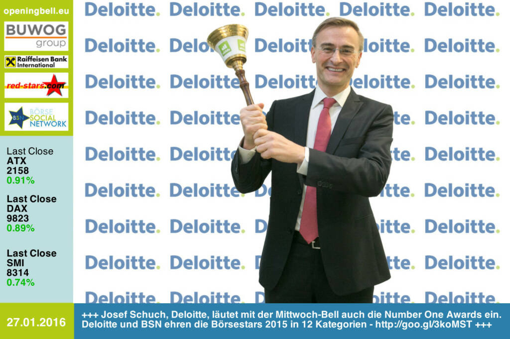 #openingbell am 27.1: Josef Schuch, Deloitte, läutet mit der Mittwoch-Bell auch die Number One Awards ein. Deloitte und BSN ehren die Börsestars 2015 in 12 Kategorien - http://goo.gl/3koMST http://www.deloitte.at http://www.openingbell.eu (27.01.2016)