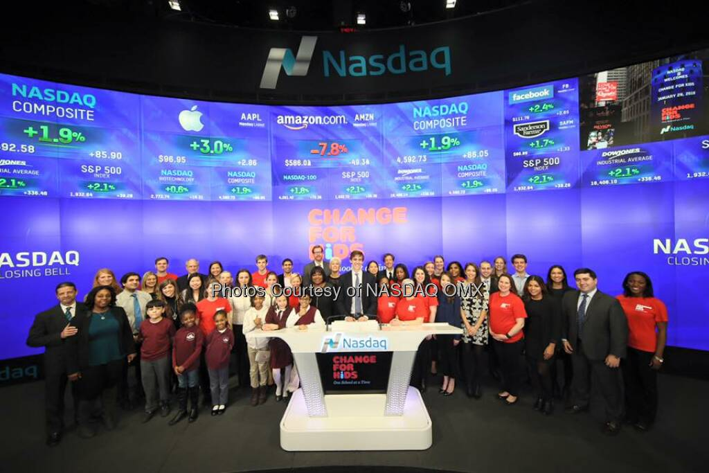 Change for Kids rings the Nasdaq Closing Bell!   Source: http://facebook.com/NASDAQ (31.01.2016)