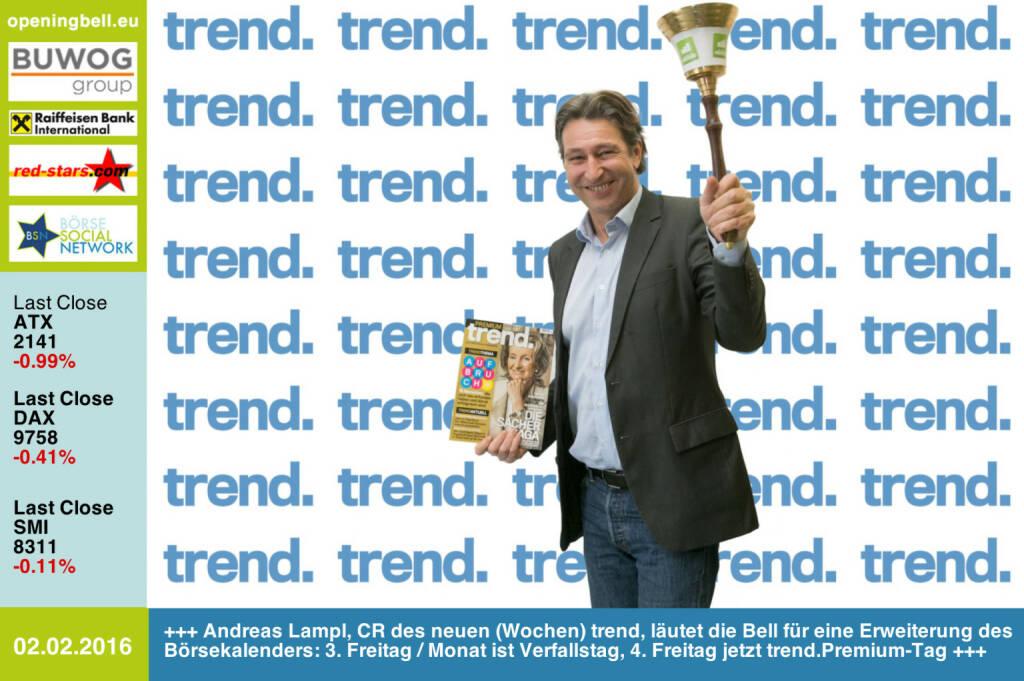 #openingbell am 2.2: Andreas Lampl, Chefredakteur des neuen wöchentlichen trend, läutet die Opening Bell für eine Erweiterung des Börsekalenders: Am 3. Freitag im Monat ist Verfallstag, am 4. Freitag jetzt trend.Premium-Tag http://www.trend.at http://www.openingbell.eu (02.02.2016)
