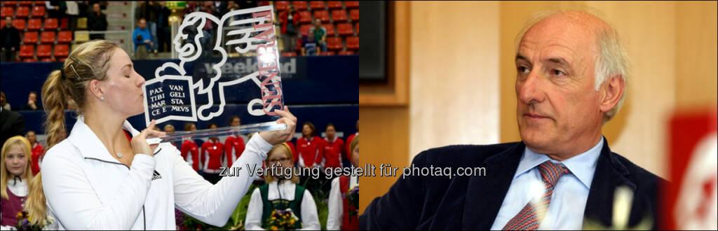 """Angelique Kerber (Siegerin des Generali Ladies Linz 2013), Peter-Michael Reichel : Der Oberösterreicher, Gründer des """"Generali Ladies Linz"""", wurde zum Chairman für alle Turniere weltweit gewählt : Fotocredit: GEPA pictures, © Aussendung (02.02.2016)"""