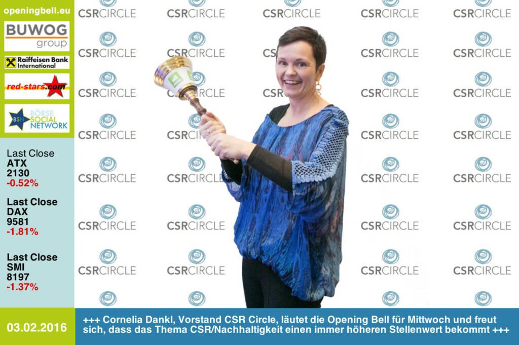 #openingbell am 3.2: Cornelia Dankl, Vorstand CSR Circle, läutet die Opening Bellfür Mittwoch und freut sich, dass das Thema CSR/Nachhaltigkeit einen immerhöheren Stellenwert bekommt http://www.csr-circle.at http://www.openingbell.eu (03.02.2016)