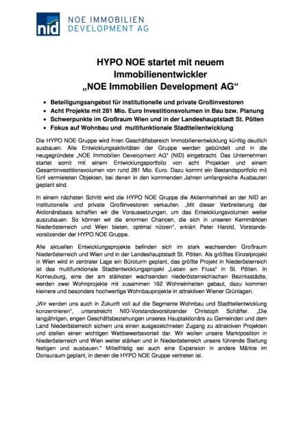Hypo NÖ startet mit neuem Immobilienentwickler NOE Immobilien Development AG, Seite 1/2, komplettes Dokument unter http://boerse-social.com/static/uploads/file_609_hypo_no_startet_mit_neuem_immobilienentwickler_noe_immobilien_development_ag.pdf (08.02.2016)