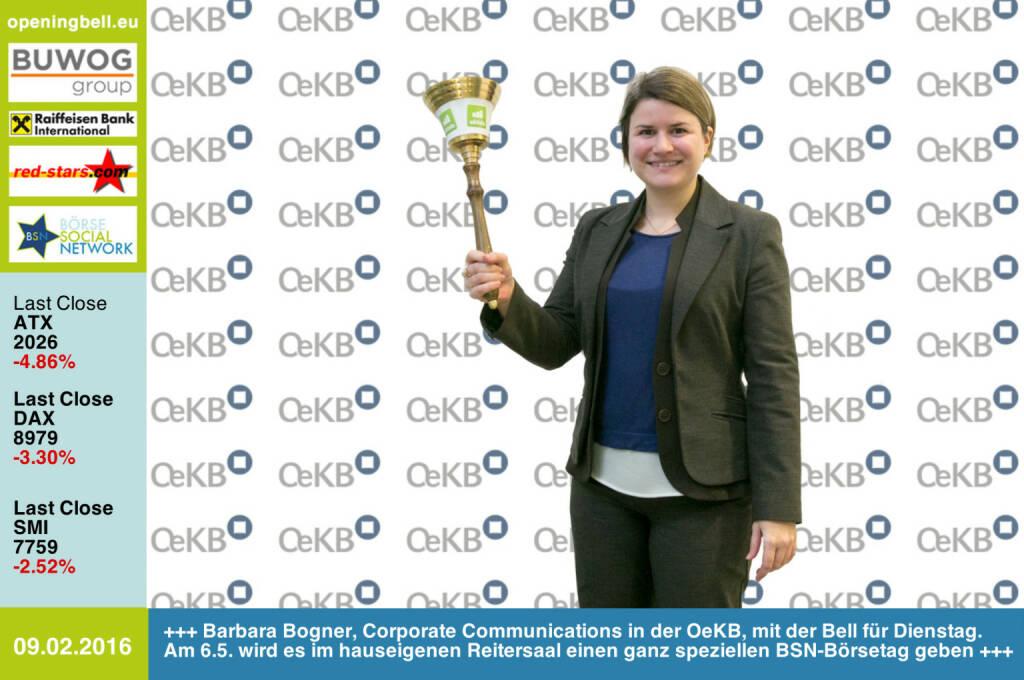 #openingbell am 9.2: Barbara Bogner, Corporate Communications in der OeKB, mit der Bell für Dienstag. Am 6.5. wird es im hauseigenen Reitersaal einen ganz speziellen BSN-Börsetag geben http://www.oekb.at http://www.openingbell.eu (09.02.2016)