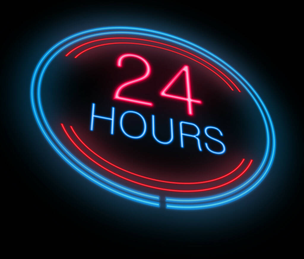 24 Hours, 24 Stunden, 1 Tag http://www.shutterstock.com/de/pic-137874173/stock-photo-illustration-depicting-an-illuminated-neon-hours-sign.html, © www.shutterstock.com (14.02.2016)