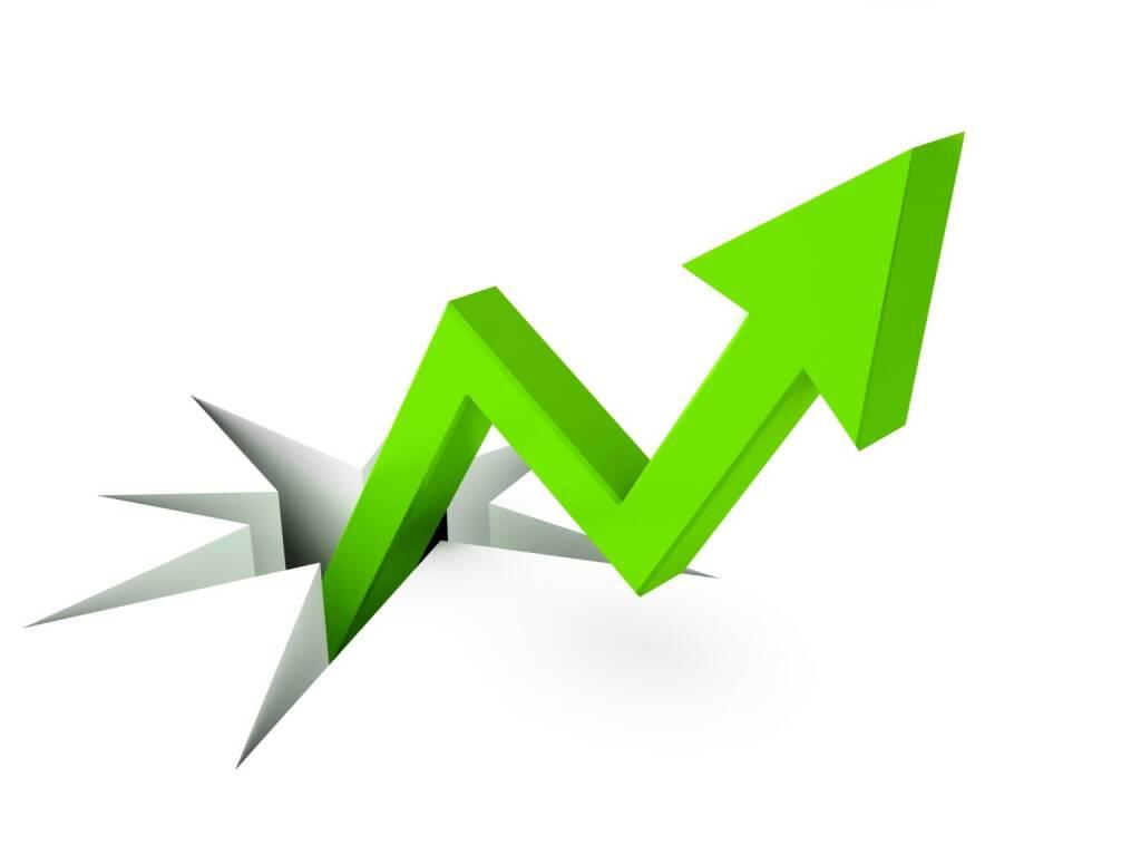 Steigend, steigen, aufwärts, grün, positiv http://www.shutterstock.com/de/pic-81877987/stock-photo-success-business-metaphor-d.html, © www.shutterstock.com (24.02.2016)